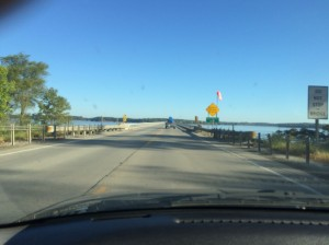 Getting ready to cross the big bridge at Lake Red Rock.